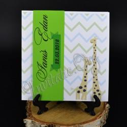Invitatie de Botez verde Haioasa cu Girafe