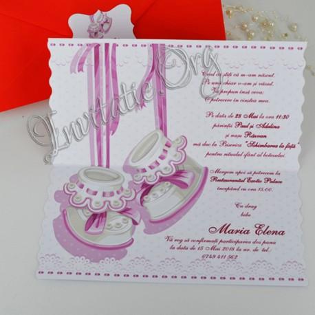 Invitatii Botez Handmade Elegante Cu Botosei Roz Si Model Dantelat