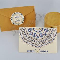 Invitatie de Nunta cu motiv Mandala colorata