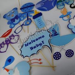 Accesorii Photo Botez - Masti si Mesaje pe Bat - Baby Boy