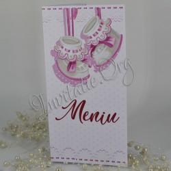 Meniu Botez cu Botosei roz si model dantelat