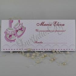 Plic de Bani Botez cu Botosei roz si model dantelat