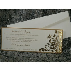 Invitatie de nunta eleganta cu auriu 496