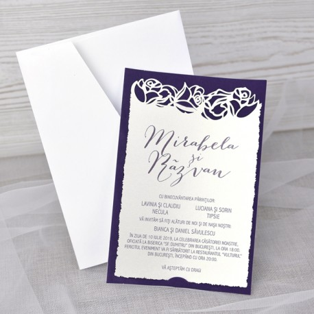 Invitatii Nunta Elegante Cu Model Deosebit Dantelat Trandafiri 39348