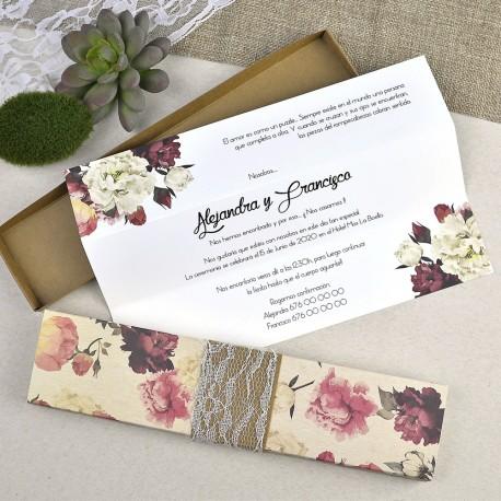 Invitatii Nunta Deosebite Elegante Vintage Cu Model Floral 39601