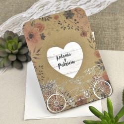 Invitatie de Nunta Vintage model floral cu Bicicleta 39606