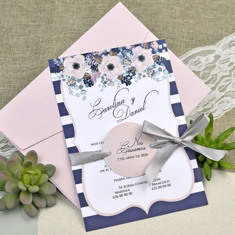 Invitatie de Nunta cu model floral elegant 39609