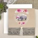 Invitatie de Nunta cu Model Floral si Caravana Hipie 39610