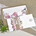 Invitatie de Nunta cu Model Floral Acuarela si Fluture stilizat 39611