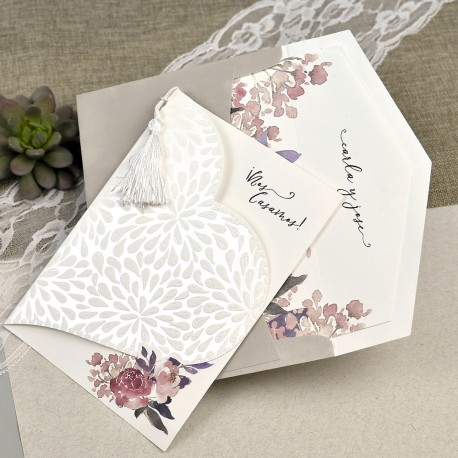 Invitatie de Nunta Inima cu model Floral acuarela 39612