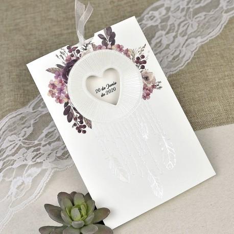 Invitatii Nunta Ieftine Cu Model Floral Pene Si Inima 39615
