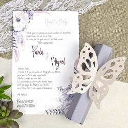 Invitatie de Nunta cu model floral, pene si Fluture 39619