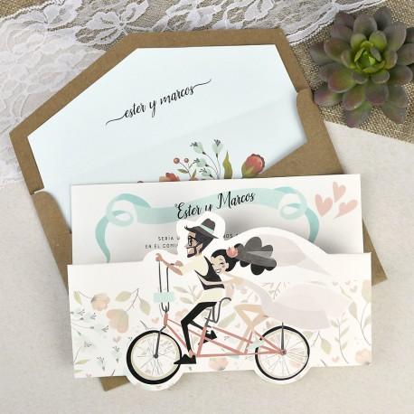 Invitatii Nunta Mea Cu Miri Veseli Si Frumosi Pe Bicicleta 39629