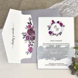 Invitatie de Nunta cu Model Dantelat si Coronita din flori grena 39630