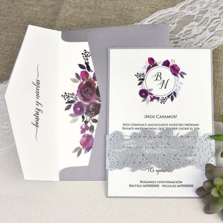 Invitatii Nunta Mea Cu Coronita Din Flori Si Banderola Dantelata 39630