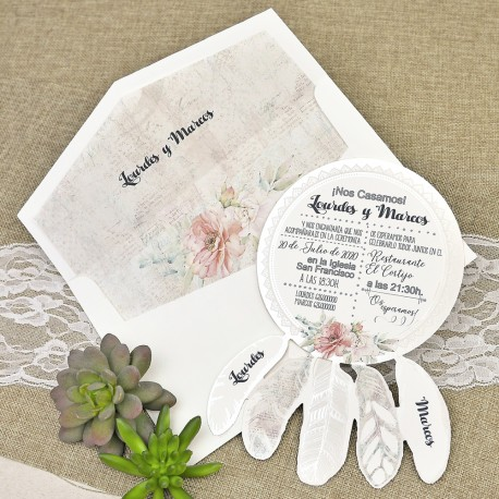 Invitatii Nunta Deosebite Cu Model Floral Si Pene 39633