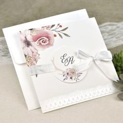 Invitatie de Nunta cu Model embosat si flori acuarela 39632