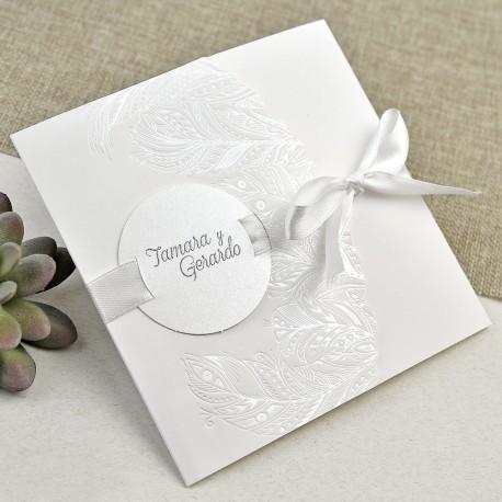 Invitatii Nunta Elegante Si Simple Cu Model Pene Embosate 39635