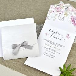 Invitatie de Nunta cu Model Floral si Fluturi roz 39636