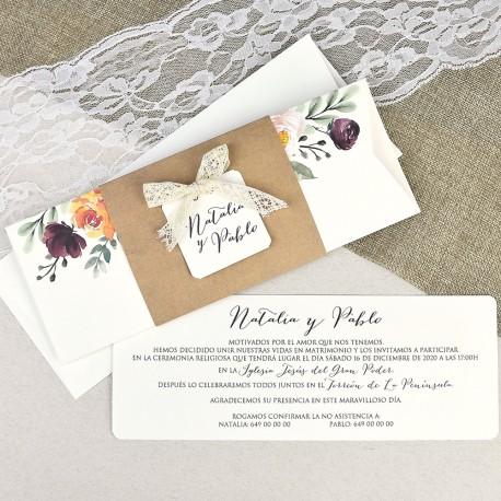 Invitatii Nunta Mea Cu Model Floral Acuarela Colorat Si Dantela 39637