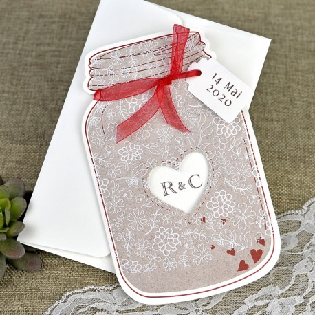 Invitatii Nunta Elegante Si Deosebite Borcan Rosu Model Floral 39641