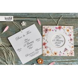 Invitatie de Nunta Eleganta cu model acuarela Flori si fluturas 70232