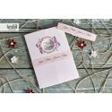 Invitatie de Nunta cu coronita din flori roz 70233