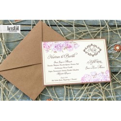 Invitatie de Nunta rustic eleganta cu hortensii si trandafiri 70234