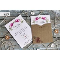 Invitatie de Nunta kraft cu model floral roz 70235