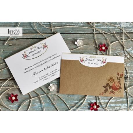 Invitatie de nunta cu motiv floral trandafiri vintage 70236