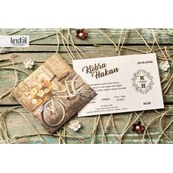 Invitatie de Nunta cu Bicicleta si model auriu 70263