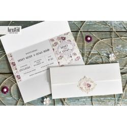 Invitatie de Nunta cu motiv Floral Vintage 70268