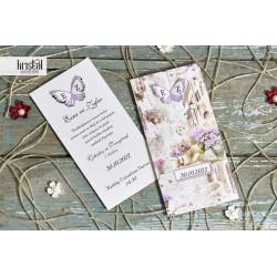 Invitatie de Nunta cu Flori si Fluture 3D 70629