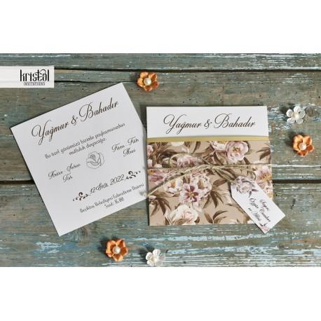 Invitatie de Nunta cu Model Floral Elegant Trandafiri 70923