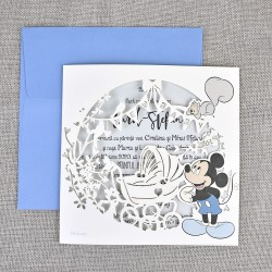 Invitatie de Botez decupaj Laser Carucior cu Mickey Mouse 17510
