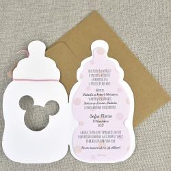 Invitatie de Botez Biberon Disney Bebe Minnie Mouse si Bebe Daisy Duck 15716