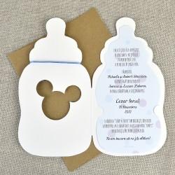 Invitatie de Botez Biberon Disney Bebe Mickey Mouse si Bebe Donald Duck 15717