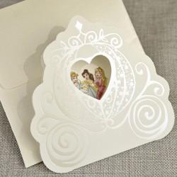 Invitatie de Botez Caleasca eleganta cu Printese 15730