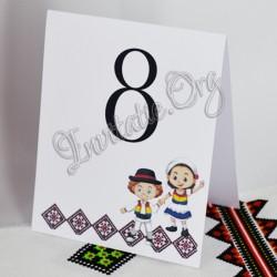 Numar de masa Traditional Nunta cu Miri imbracati in Tricolor