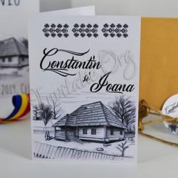Invitatie de Nunta Rustica cu Motiv Traditional si Casa Familiei