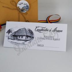 Plic de Bani Nunta Rustic cu Motiv Traditional si Casa Familiei