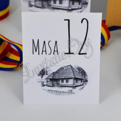 Numar de Masa Nunta Rustic cu Motiv Traditional si Casa Familiei