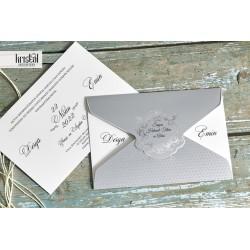Invitatie de Nunta cu Motiv Baroc argintiu 70327