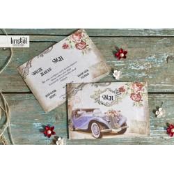 Invitatie de Nunta cu Model Floral si Masina Vintage 70337