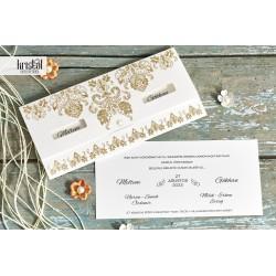 Invitatie de Nunta Eleganta cu Model Auriu si Perla 70339