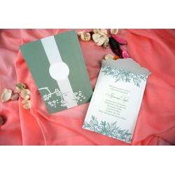 Invitatie de Nunta Eleganta cu Flori si Frunze 70345