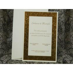 Invitatie de nunta cu frunze aurii 582