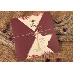 Invitatie de Nunta cu Model Floral Elegant si Fluture 52522