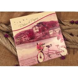 Invitatie de Nunta cu Peisaj Bicicleta cu Flori si Baloane 52527