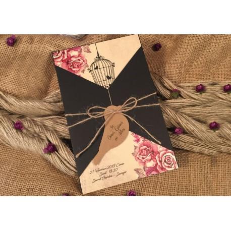 Invitatie de Nunta cu Model Floral si Colivie 52528